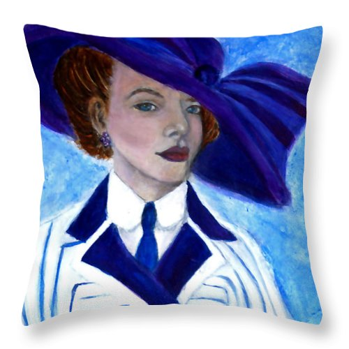 Lady In Hat Throw Pillow featuring the painting Victoria by The Art With A Heart By Charlotte Phillips