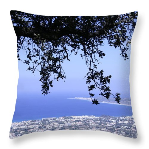 Greek Throw Pillow featuring the pyrography View by Barry Boom