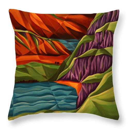 Mountain Throw Pillow featuring the painting View From A Mountainside by Tiffany Budd