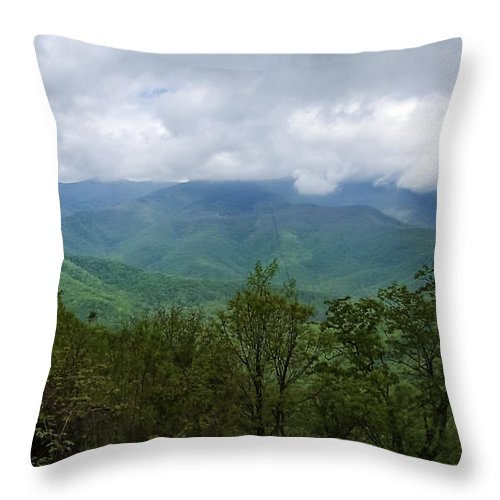 Appalachian Mountains Throw Pillow featuring the photograph View From The Parkway by Phill Doherty