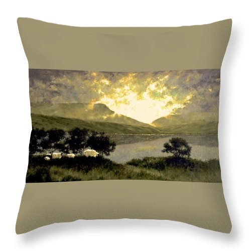 Oil Throw Pillow featuring the painting View Of Ben Bulben by Jim Gola