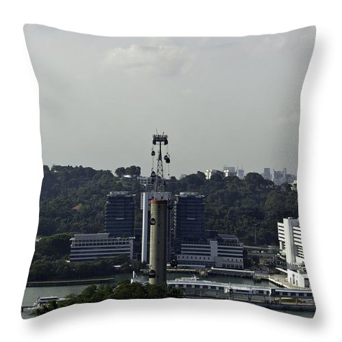 Asia Throw Pillow featuring the photograph View Of Cable Car And Skyline From The Tiger Sky Tower In Sentos by Ashish Agarwal