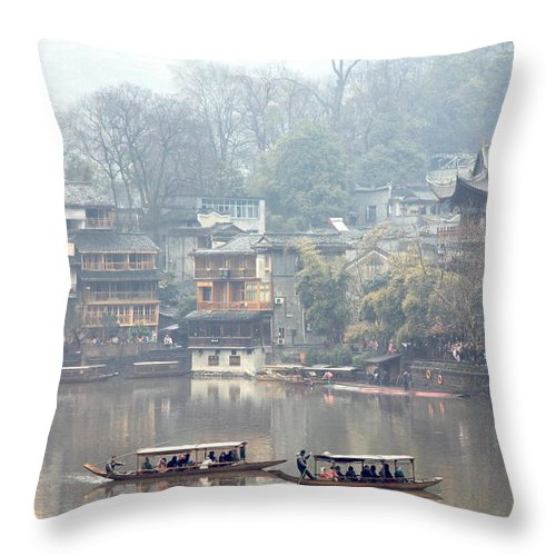 River Throw Pillow featuring the photograph View Of Fenghuang by Valentino Visentini