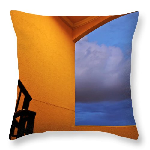 Window Throw Pillow featuring the photograph View Through A Stairwell by Carolyn Marshall