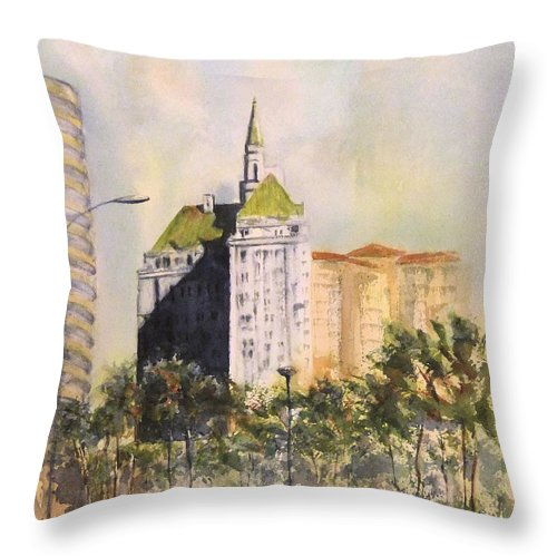 Villa Riviera Throw Pillow featuring the painting Villa Riviera by Debbie Lewis