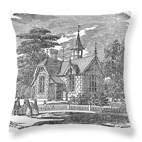 19th Century Throw Pillow featuring the photograph Village Schoolhouse, C1840 by Granger