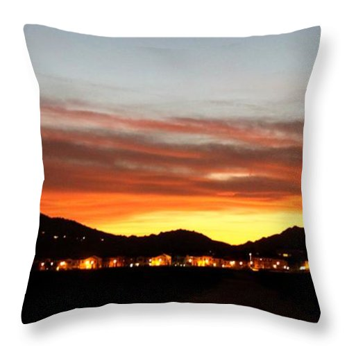 Landscape Throw Pillow featuring the photograph Village Sunset by Caroline Lomeli