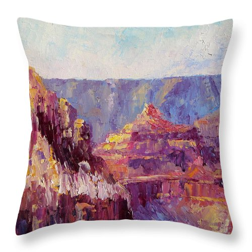 Grand Canyon Throw Pillow featuring the painting Village View by Terry Chacon