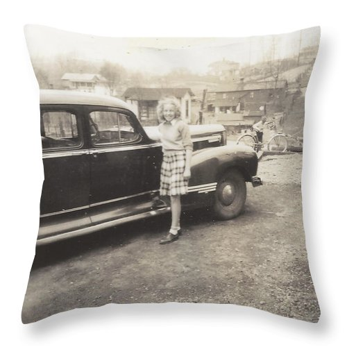 Digitized Throw Pillow featuring the photograph Vintage Auto And Girl by Alan Espasandin