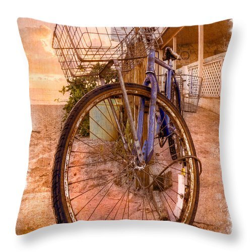 Delray Throw Pillow featuring the photograph Vintage Bicycle by Debra and Dave Vanderlaan