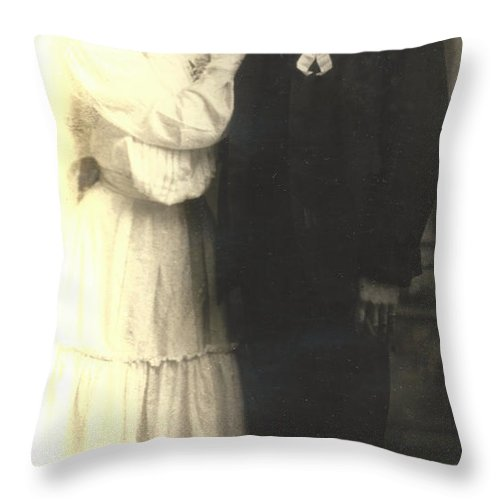 Digitized Throw Pillow featuring the photograph Vintage Bride And Groom by Alan Espasandin