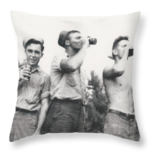 Drink Beer Vintage Men War Navy Half-naked Bottle Group 1940 Throw Pillow featuring the photograph Vintage Buddies by Alan Espasandin