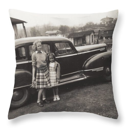 Digitized Throw Pillow featuring the photograph Vintage Car Woman And Girl by Alan Espasandin