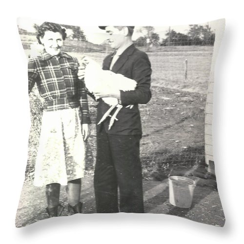 Digitized Throw Pillow featuring the photograph Vintage Chicken Farmers by Alan Espasandin