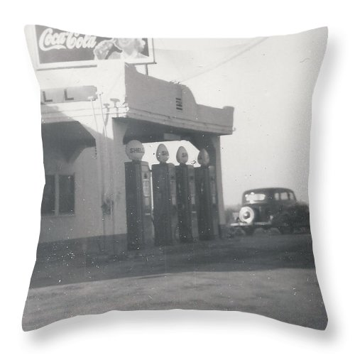 Digitized Throw Pillow featuring the photograph Vintage Coca Cola And Gas by Alan Espasandin