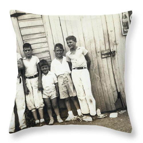 Digitized Throw Pillow featuring the photograph Vintage Coca Cola Kids by Alan Espasandin