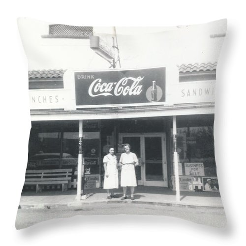 Digitized Throw Pillow featuring the photograph Vintage Coca Cola Store by Alan Espasandin
