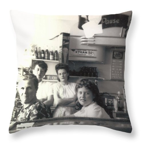 Digitized Throw Pillow featuring the pyrography Vintage Diner by Alan Espasandin