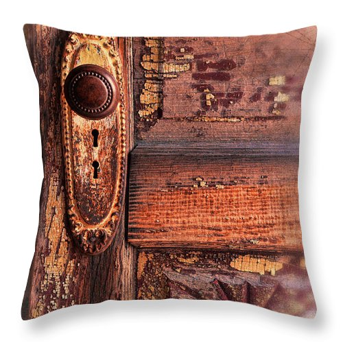Door Throw Pillow featuring the photograph Vintage Door And Knob by Jill Battaglia