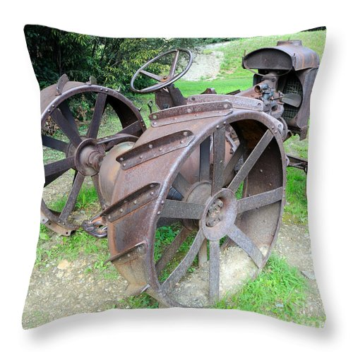 Vintage Throw Pillow featuring the photograph Vintage Farm Tractor by Gary Whitton