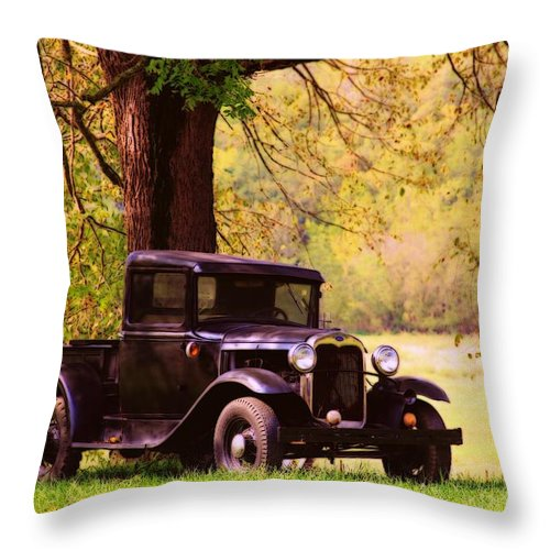 Fields Throw Pillow featuring the photograph Vintage Ford by Carolyn Wright