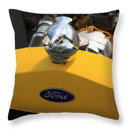 Yellow Throw Pillow featuring the photograph Vintage Ford by Suzanne Gaff