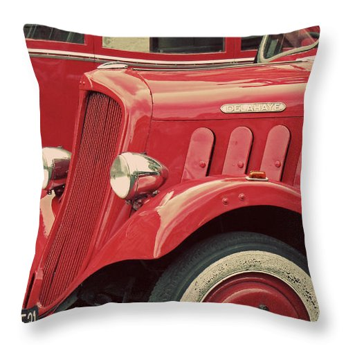 Red And Black Throw Pillow featuring the photograph Vintage French Delahaye Fire Truck by Tony Grider