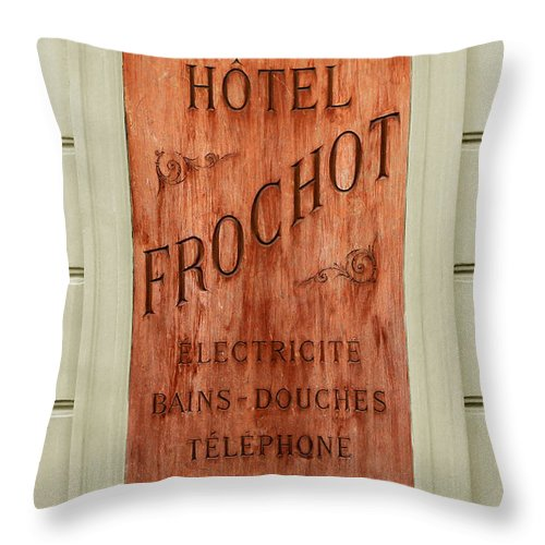 Paris Throw Pillow featuring the photograph Vintage Hotel Sign 3 by Andrew Fare