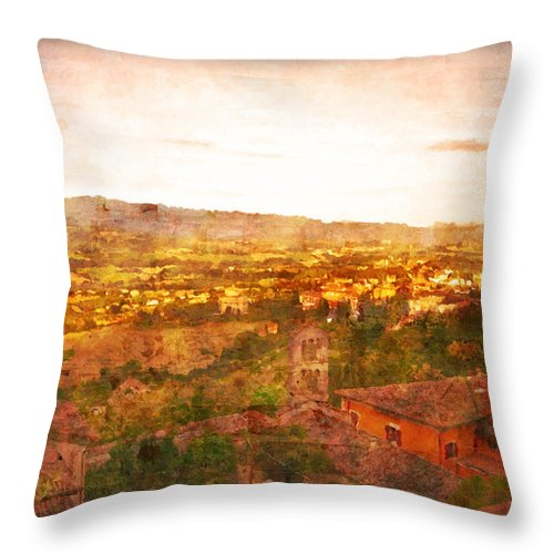 Something Different Italian Landscape Throw Pillow featuring the photograph Vintage Landscape Florence Italy by Femina Photo Art By Maggie