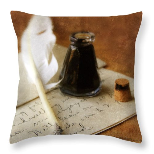 Vintage Throw Pillow featuring the photograph Vintage Letter And Quill Pen by Jill Battaglia