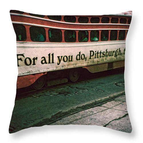 Pigeon Throw Pillow featuring the photograph Vintage Pittsburgh Trolly by Chris Lord
