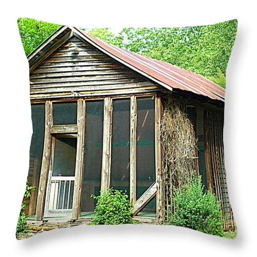 Pool Throw Pillow featuring the photograph Vintage Pool House by Renee Trenholm