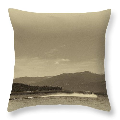 Elkins Resort Boathouse Throw Pillow featuring the photograph Vintage Priest Lake Idaho by David Patterson