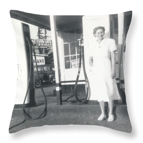 Digitized Throw Pillow featuring the photograph Vintage Service Station by Alan Espasandin