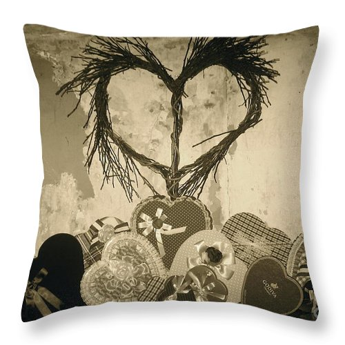 Candy Heart Boxes Throw Pillow featuring the photograph Vintage Valentine by Nancy Patterson
