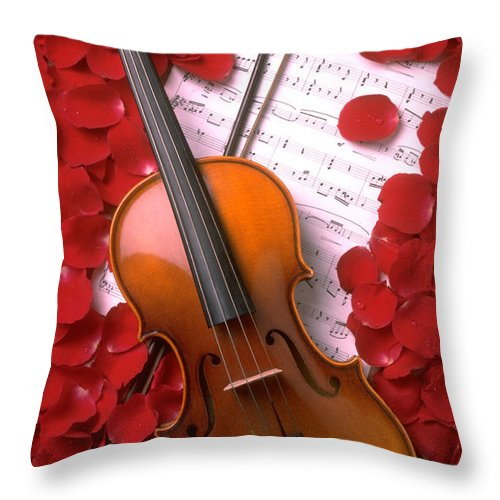 Violin Throw Pillow featuring the photograph Violin On Sheet Music With Rose Petals by Garry Gay