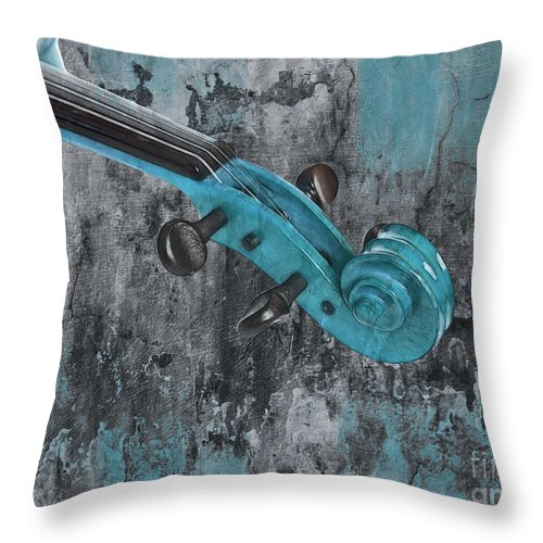 Violin Throw Pillow featuring the photograph Violinelle - Turquoise 04d2 by Variance Collections