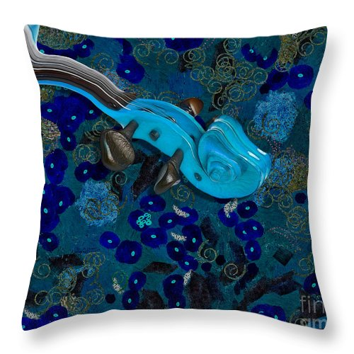 Violin Throw Pillow featuring the digital art Violinelle - V02-06g by Variance Collections