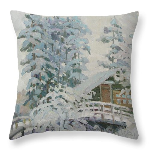 Winter Throw Pillow featuring the painting Visiting Fairy Tales by Juliya Zhukova