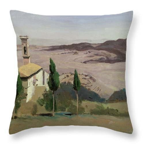 Volterra Throw Pillow featuring the painting Volterra by Jean Baptiste Camille Corot
