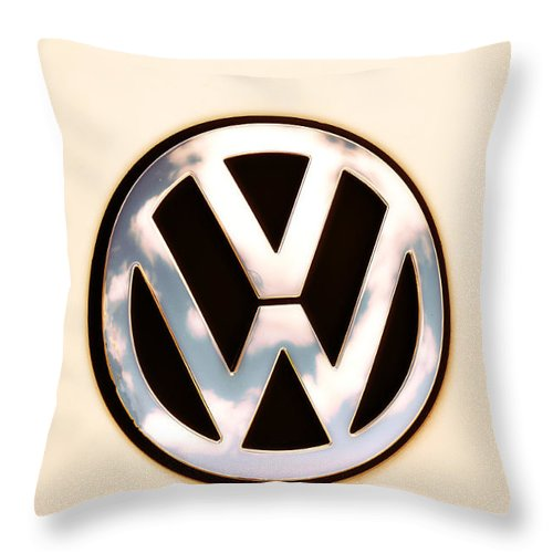 Vw Emblem Throw Pillow featuring the photograph Vw Emblem by Bill Cannon