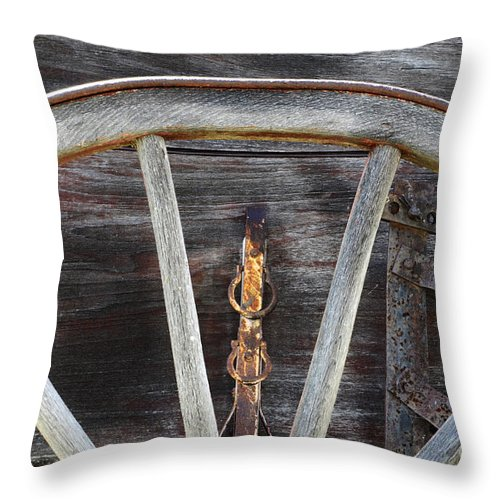Wagon Wheel Throw Pillow featuring the photograph Wagon Wheel Detail by Bob Christopher