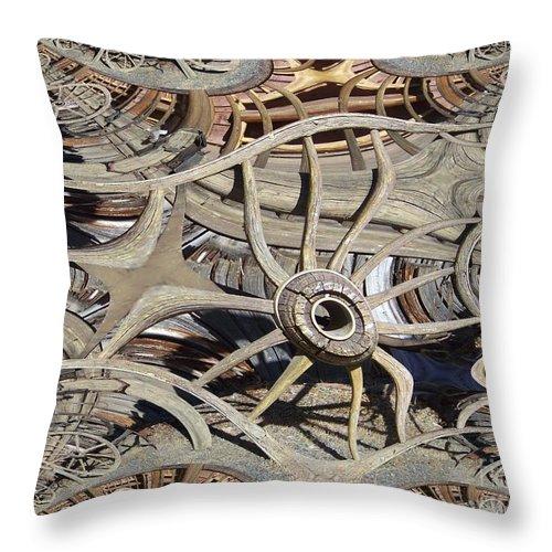 Wagon Wheel Throw Pillow featuring the digital art Wagon Wheel Fractal by Charles Robinson