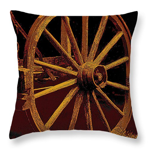Wagon Wheels Throw Pillow featuring the photograph Wagon Wheel In Sepia by Rich Walter