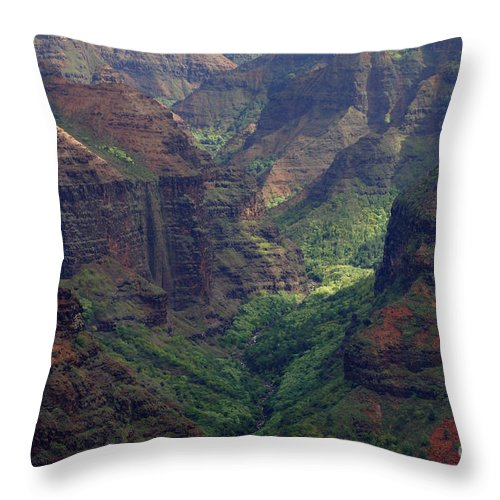 Hawaii Throw Pillow featuring the photograph Waimea Canyon 2 by Bob Christopher