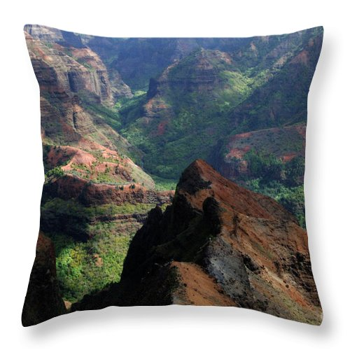 Hawaii Throw Pillow featuring the photograph Waimea Canyon by Bob Christopher