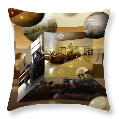 Shape Layering Throw Pillow featuring the digital art Wait by Markus Blaus