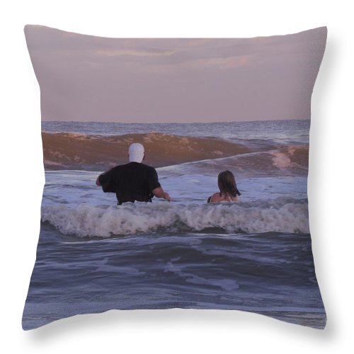 Human Throw Pillow featuring the photograph Waiting For The Huge Wave by Donna Brown