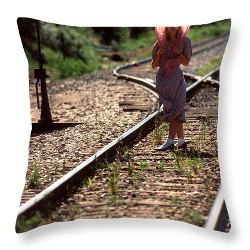Woman Throw Pillow featuring the photograph Waiting For The Train by Jerry McElroy