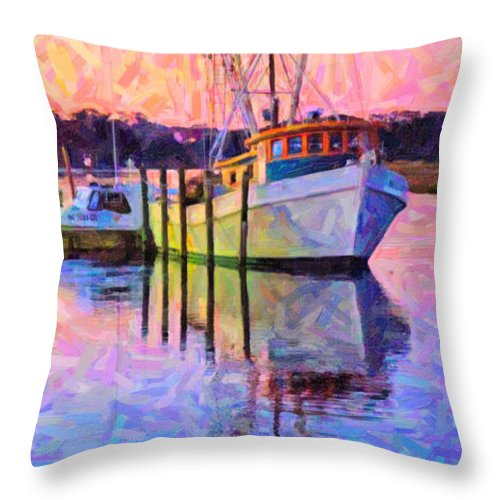 Ship Throw Pillow featuring the digital art Waiting In The Harbor by Betsy Knapp